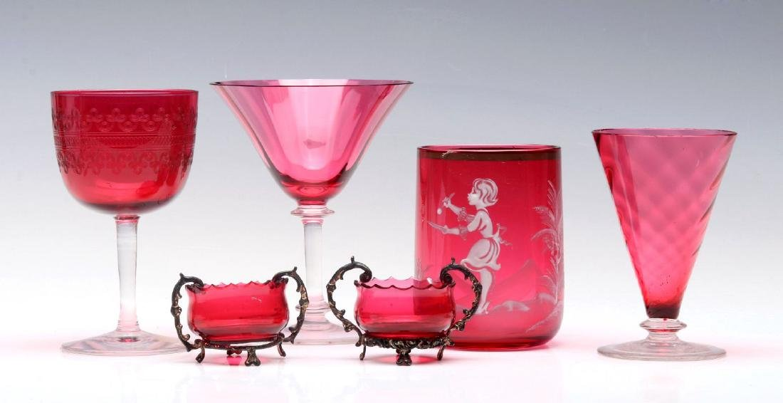A COLLECTION OF STEUBEN AND OTHER CRANBERRY GLASS