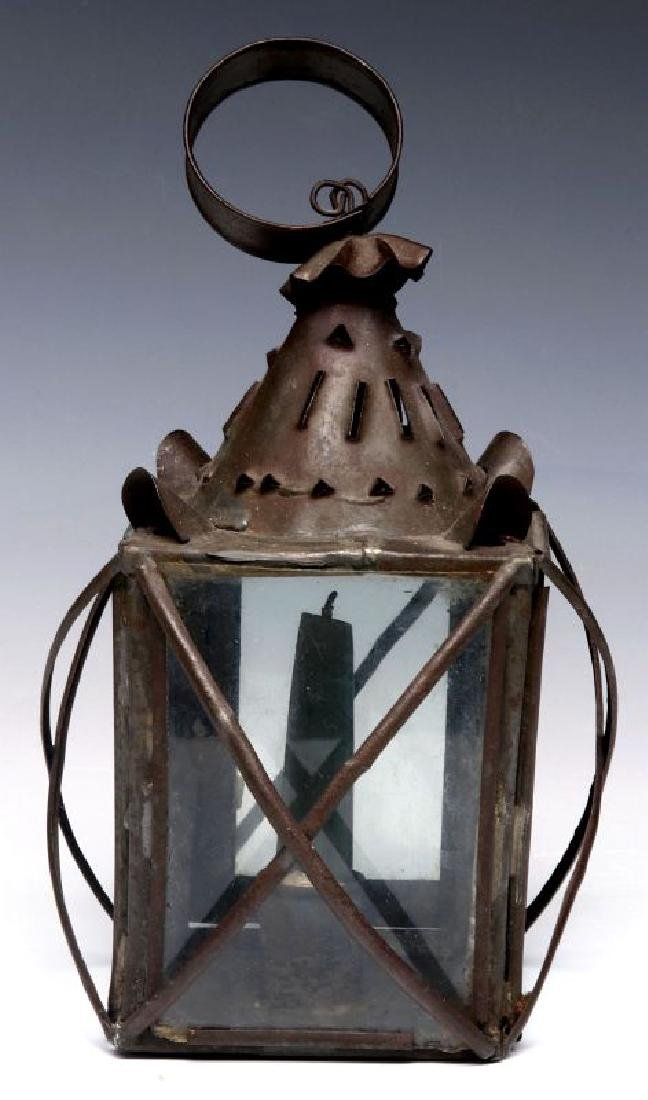 A 19TH CENTURY PIERCED TIN CANDLE LANTERN - 6
