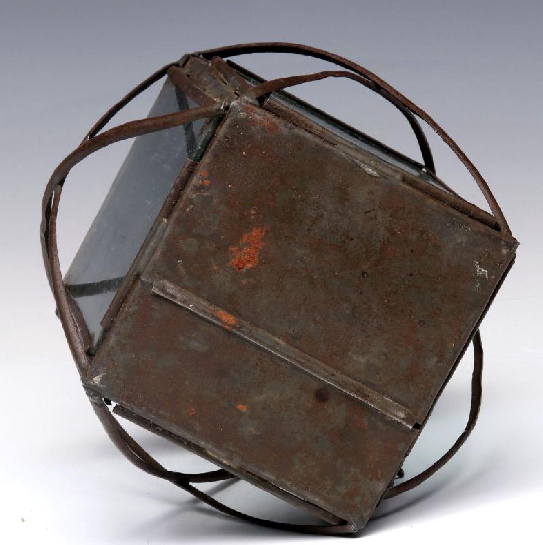 A 19TH CENTURY PIERCED TIN CANDLE LANTERN - 7