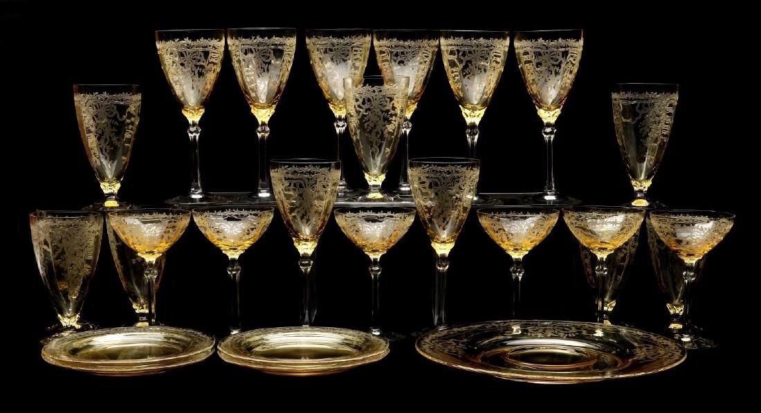 FOSTORIA 'JUNE' GLASSWARE IN TOPAZ COLOR