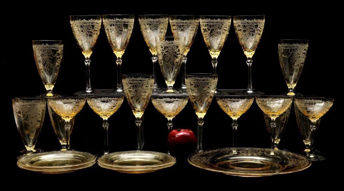 FOSTORIA 'JUNE' GLASSWARE IN TOPAZ COLOR - 2
