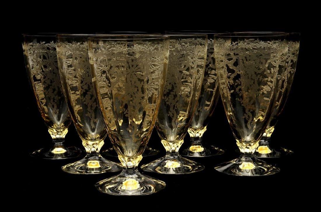 FOSTORIA 'JUNE' GLASSWARE IN TOPAZ COLOR - 5