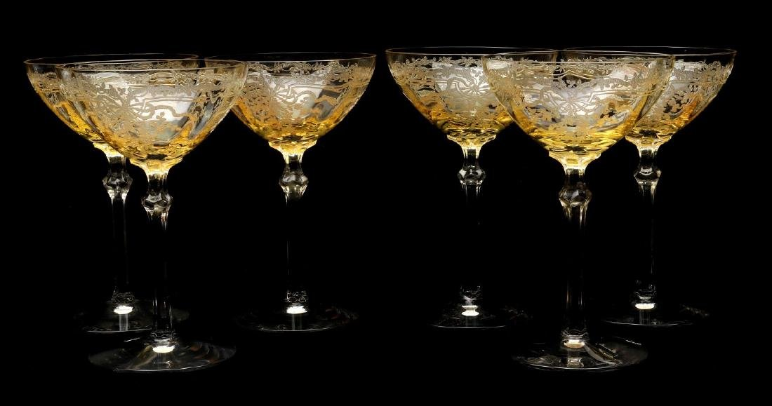 FOSTORIA 'JUNE' GLASSWARE IN TOPAZ COLOR - 6