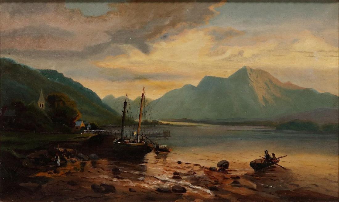 A 19TH CENTURY OIL ON CANVAS EUROPEAN LANDSCAPE