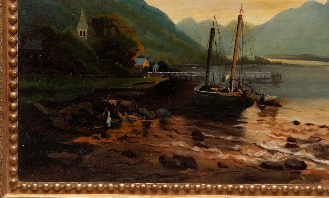 A 19TH CENTURY OIL ON CANVAS EUROPEAN LANDSCAPE - 6