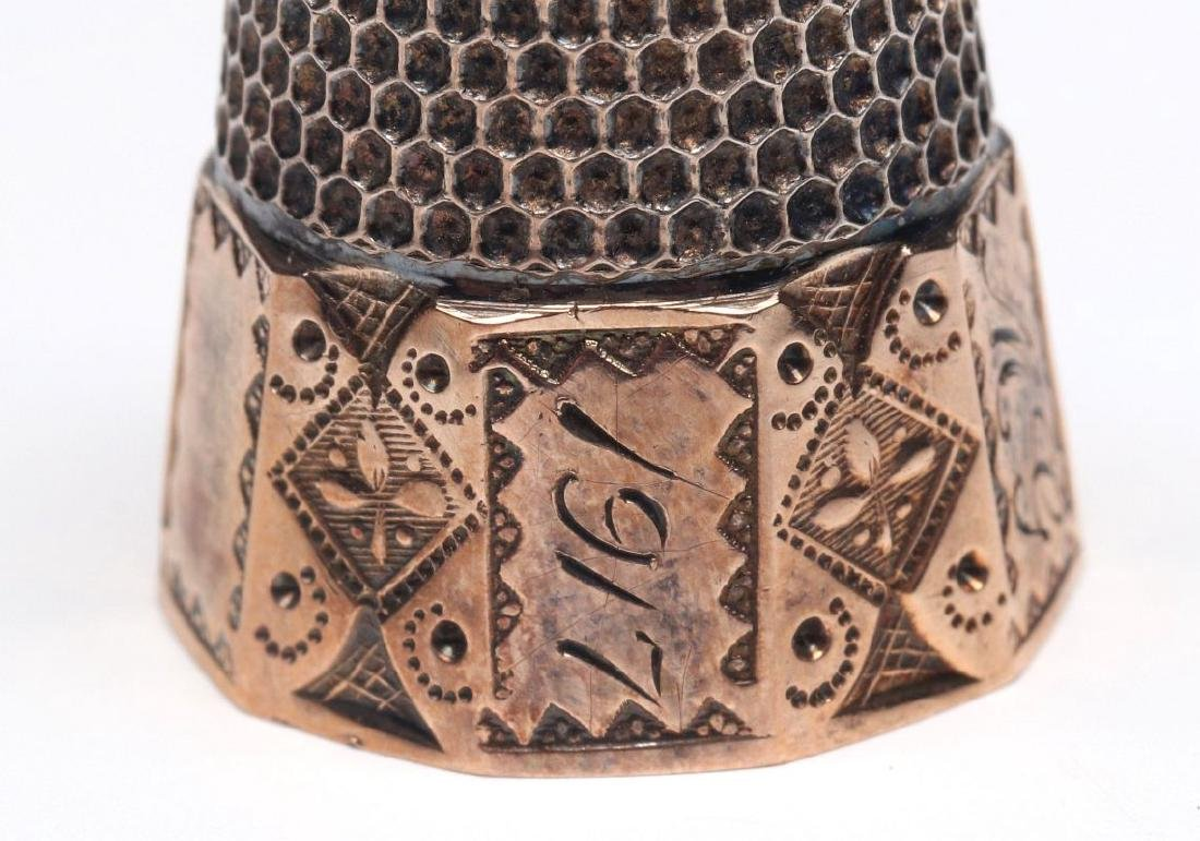STERLING SILVER AND GOLD FILLED ANTIQUE THIMBLES - 10