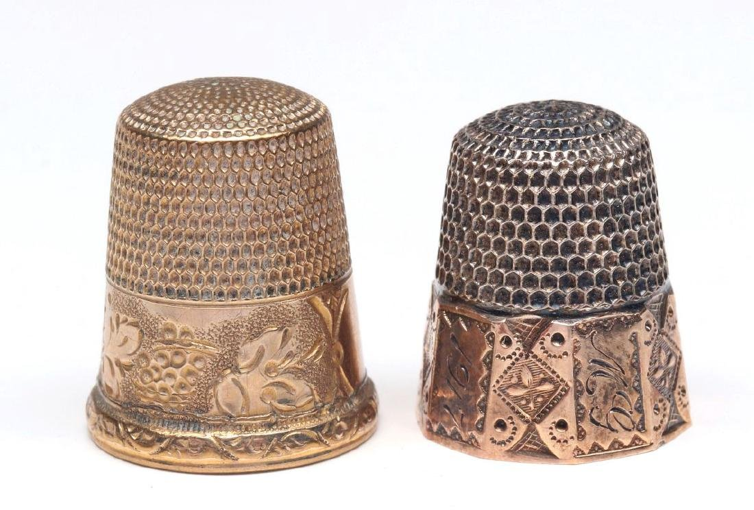 STERLING SILVER AND GOLD FILLED ANTIQUE THIMBLES