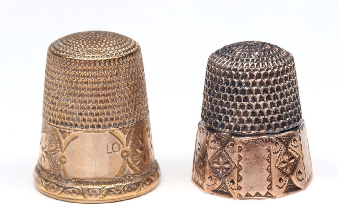 STERLING SILVER AND GOLD FILLED ANTIQUE THIMBLES - 2