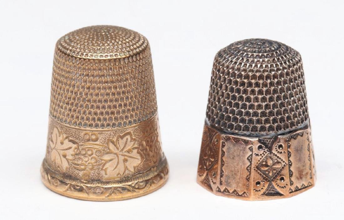 STERLING SILVER AND GOLD FILLED ANTIQUE THIMBLES - 3