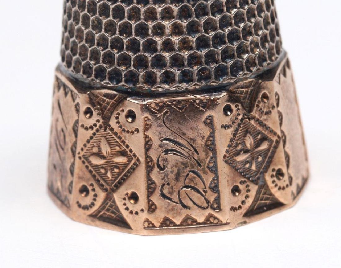 STERLING SILVER AND GOLD FILLED ANTIQUE THIMBLES - 9