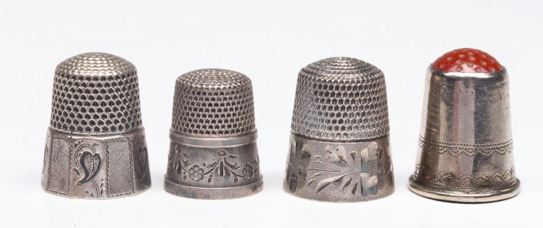 STERLING SILVER AND .800 SILVER ANTIQUE THIMBLES