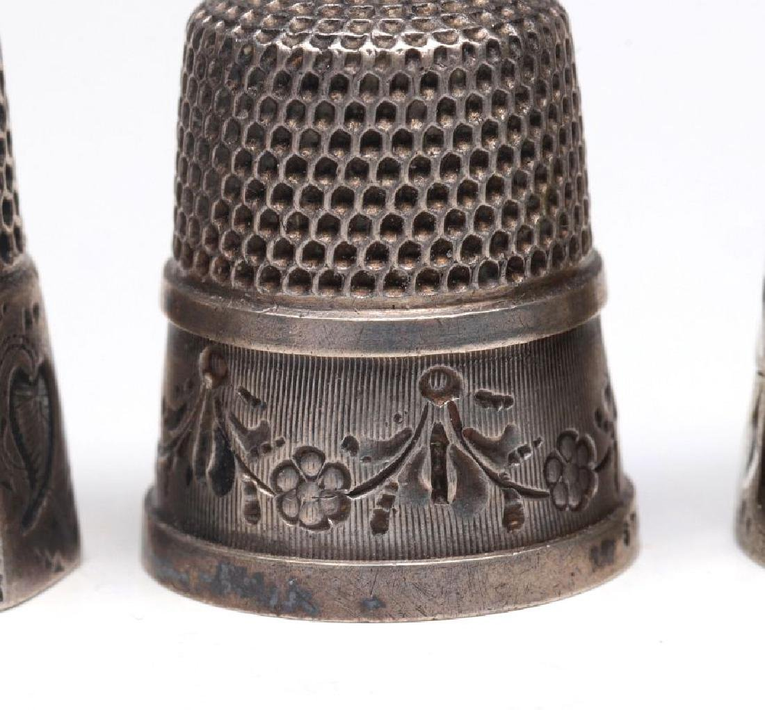 STERLING SILVER AND .800 SILVER ANTIQUE THIMBLES - 3