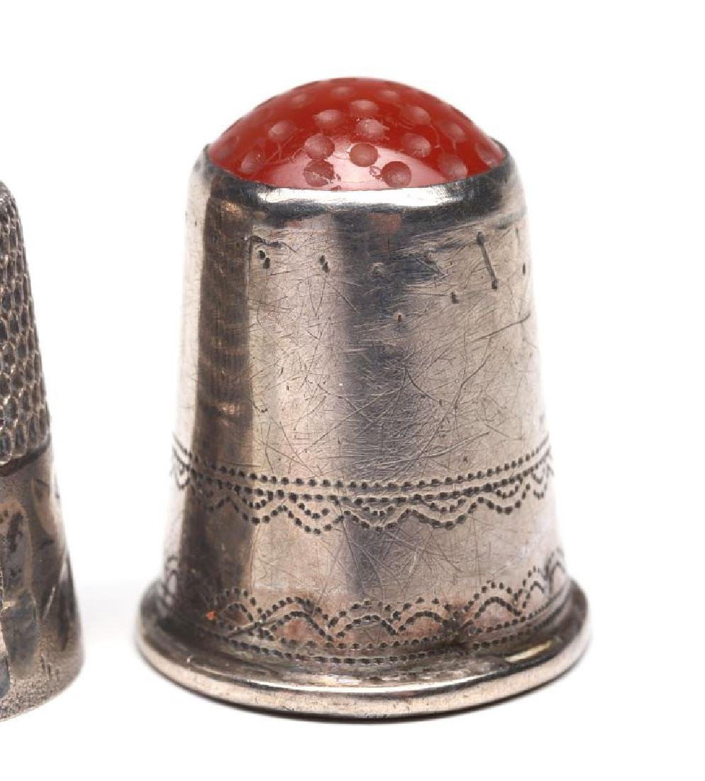 STERLING SILVER AND .800 SILVER ANTIQUE THIMBLES - 5