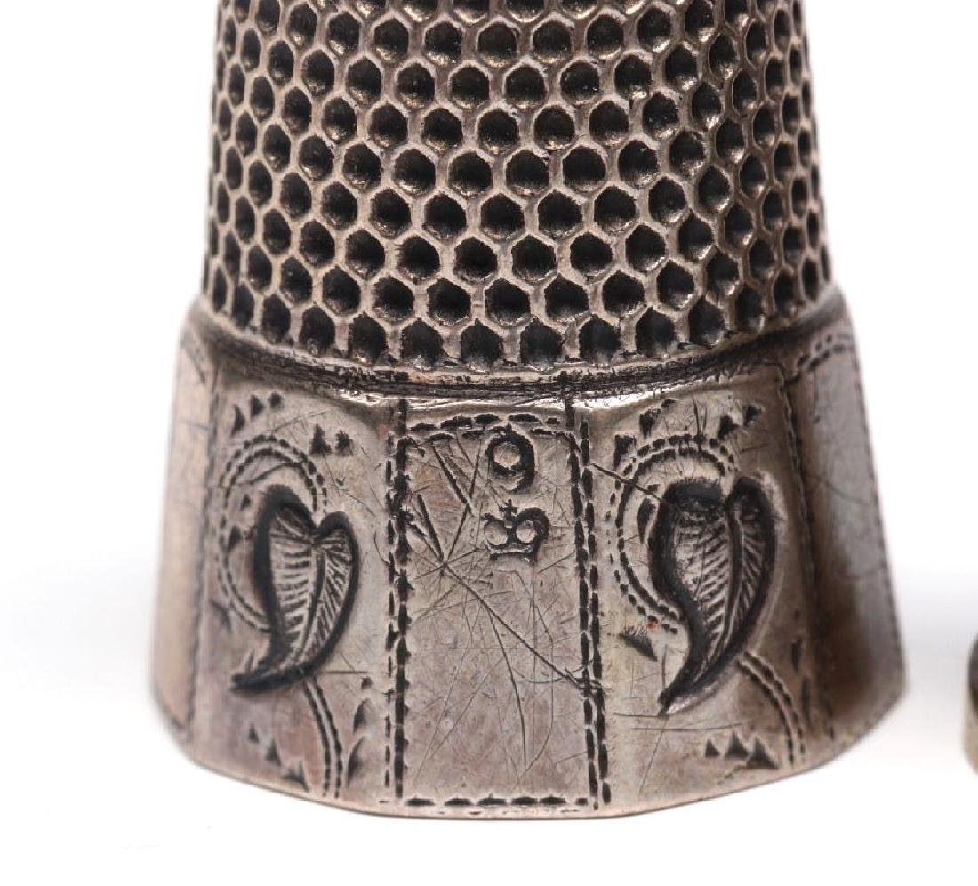 STERLING SILVER AND .800 SILVER ANTIQUE THIMBLES - 7