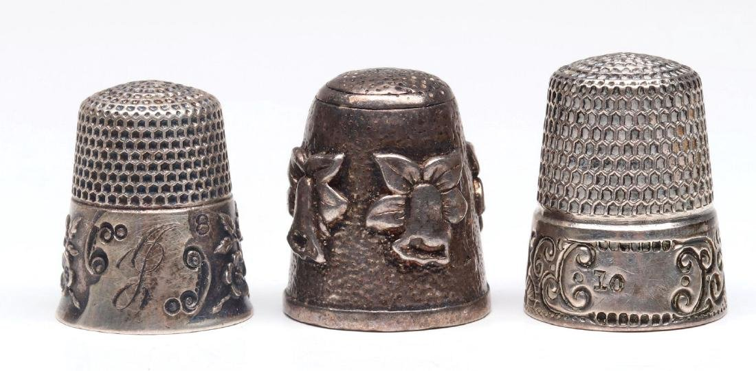 THREE ANTIQUE STERLING SILVER THIMBLES - 2