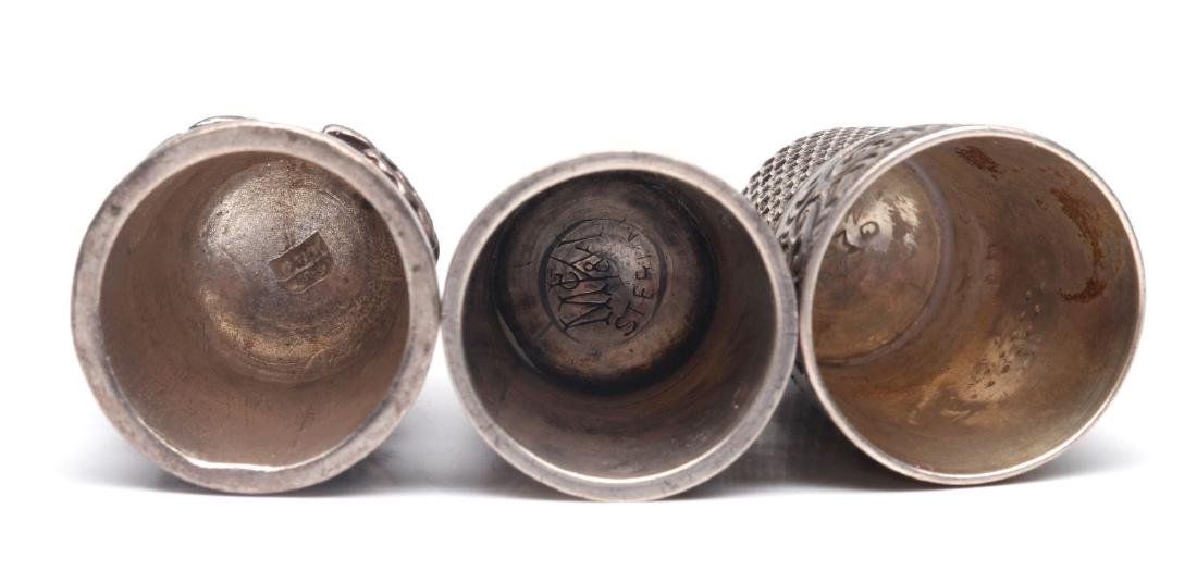 THREE ANTIQUE STERLING SILVER THIMBLES - 6