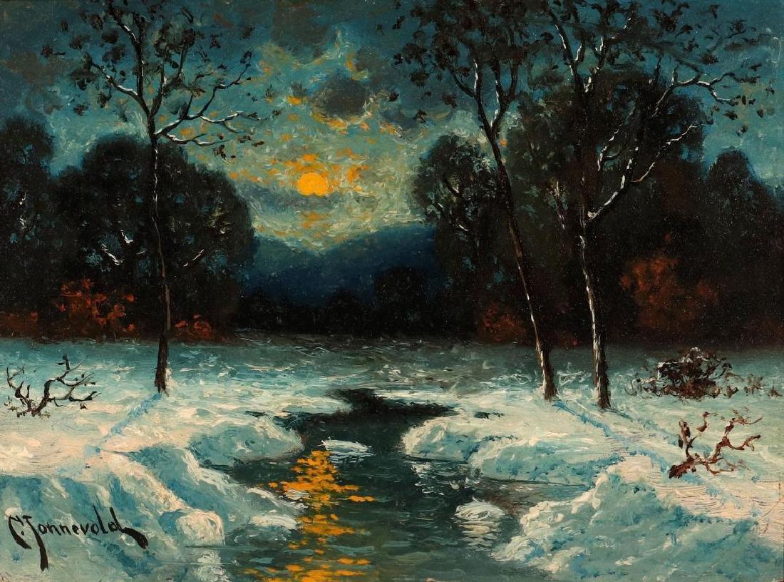 CARL HENRIK JONNEVOLD (1856-1955) OIL ON BOARD