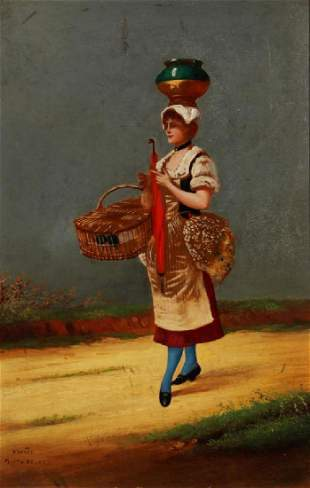CHARLES EDOUARD DELORT 18411895 OIL ON PANEL