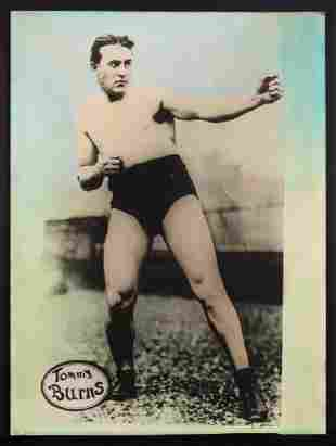 C 1940 HAND COLORED PHOTO OF BOXER TOMMY BURNS