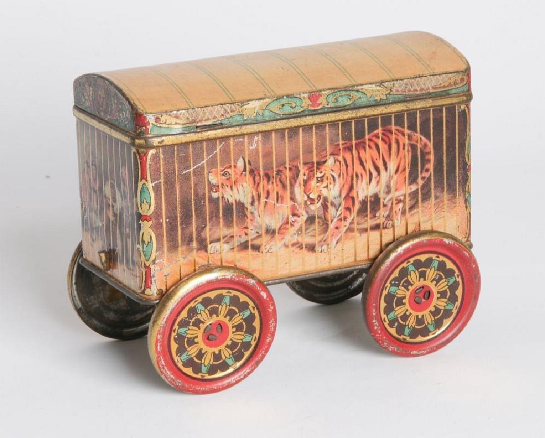 A TIN LITHO CIRCUS CAR BISCUIT TIN