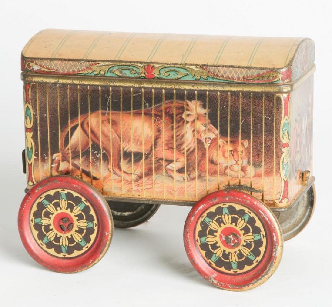 A TIN LITHO CIRCUS CAR BISCUIT TIN - 2