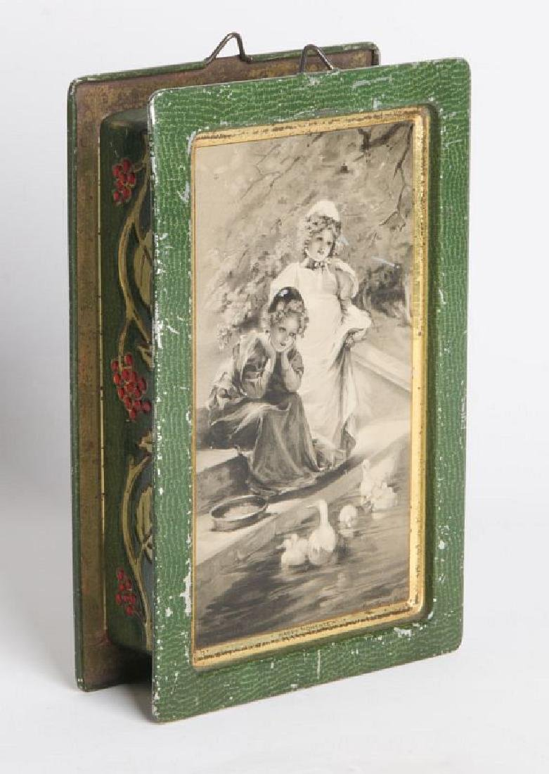 AN ENGLISH VICTORIAN LITHOGRAPHED TIN CONTAINER