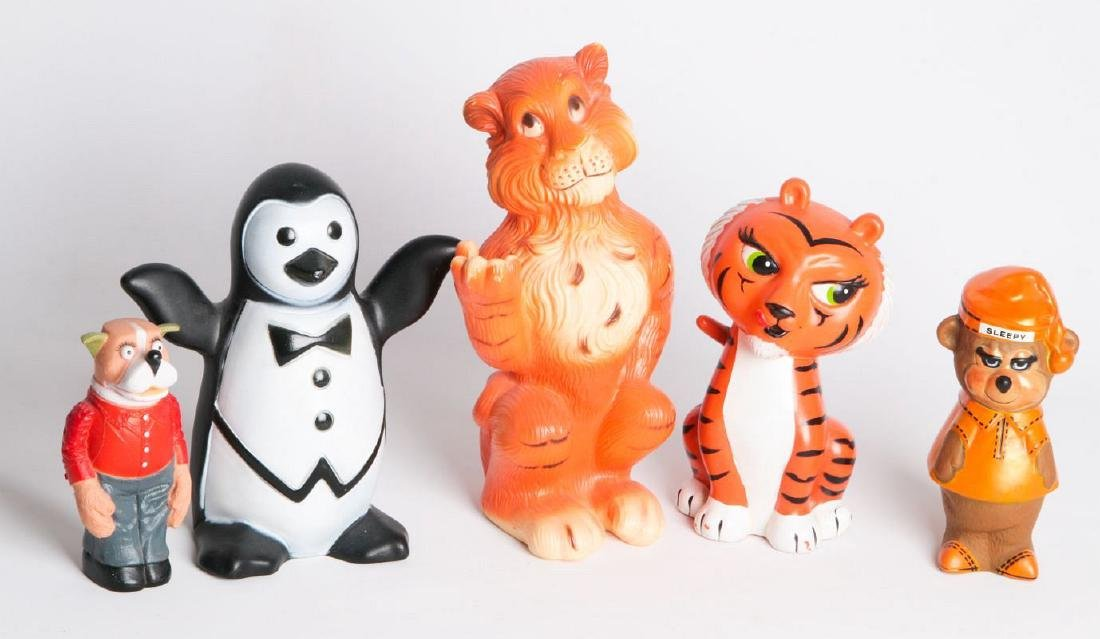 FIVE FIGURAL ANIMAL ADVERTISING MASCOTS