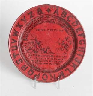 A TIN LITHO NURSERY RHYME ABC PLATE