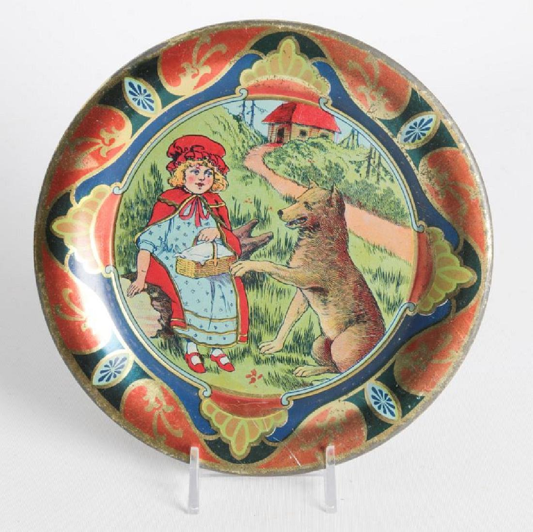 A RED RIDING HOOD TIN LITHO CHILD'S PLATE