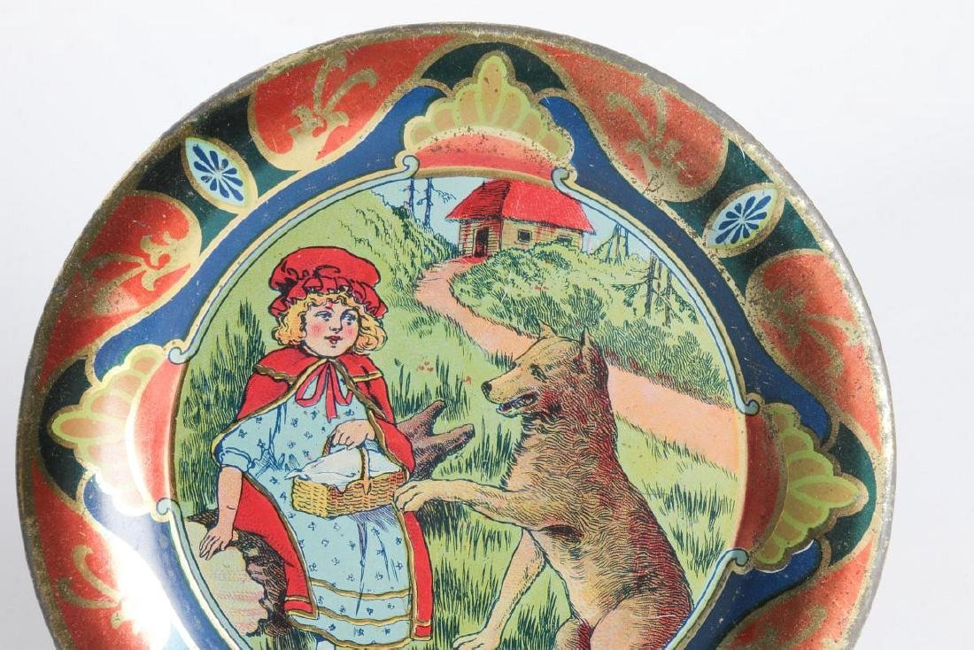 A RED RIDING HOOD TIN LITHO CHILD'S PLATE - 2