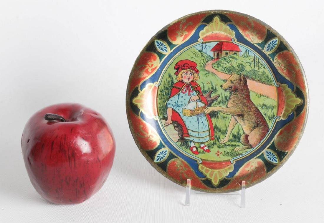 A RED RIDING HOOD TIN LITHO CHILD'S PLATE - 4