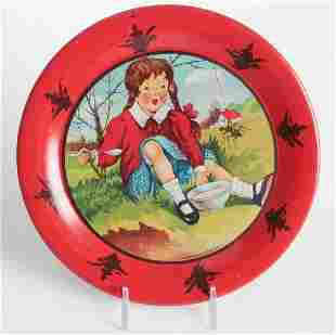 AN OHIO ART TIN LITHO MOTHER GOOSE COOKIE PLATE