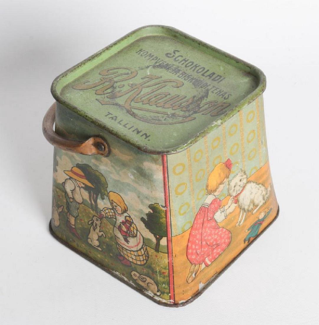 A R. KLAUSSON TIN LITHO HANDLED BISCUIT TIN