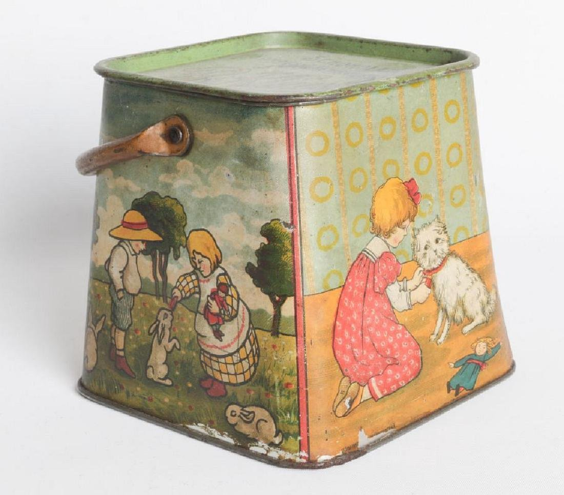 A R. KLAUSSON TIN LITHO HANDLED BISCUIT TIN - 2