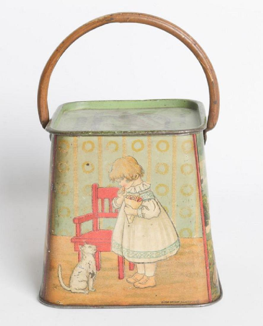 A R. KLAUSSON TIN LITHO HANDLED BISCUIT TIN - 4