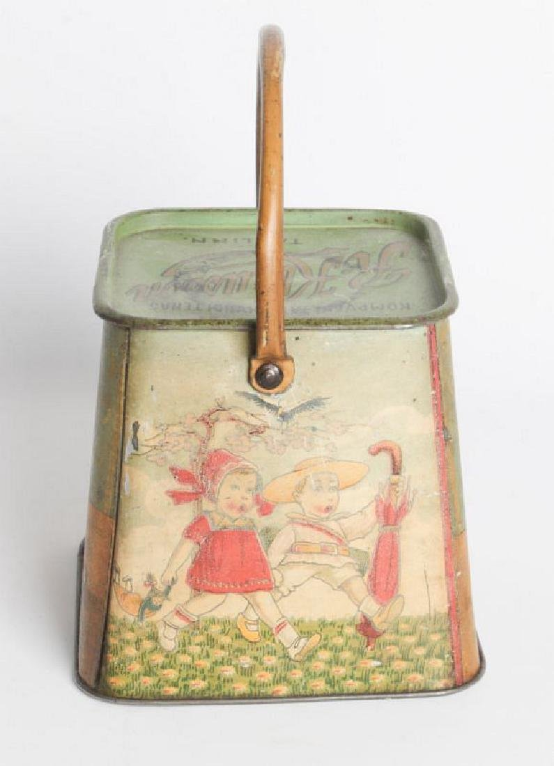 A R. KLAUSSON TIN LITHO HANDLED BISCUIT TIN - 5