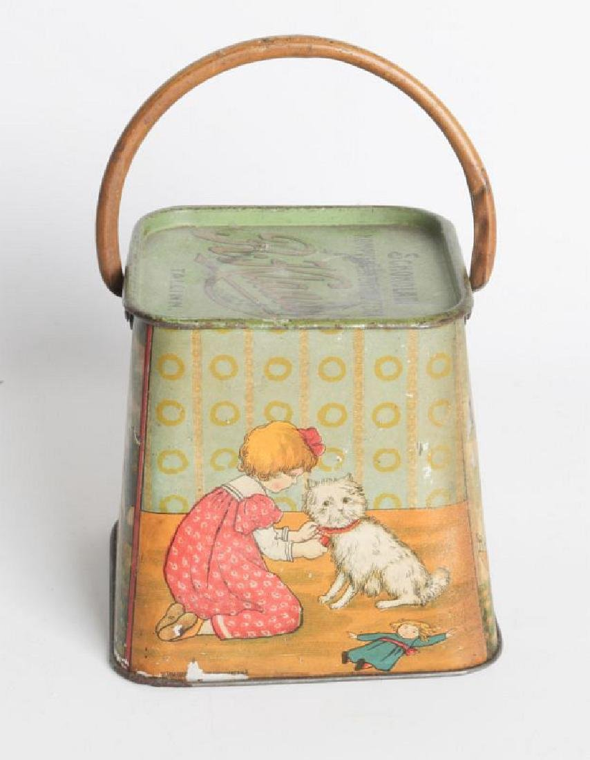 A R. KLAUSSON TIN LITHO HANDLED BISCUIT TIN - 6