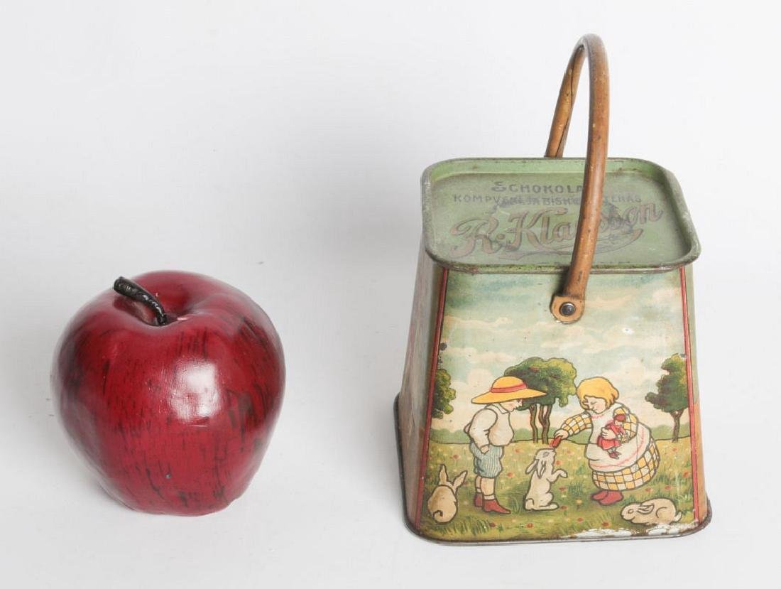 A R. KLAUSSON TIN LITHO HANDLED BISCUIT TIN - 7