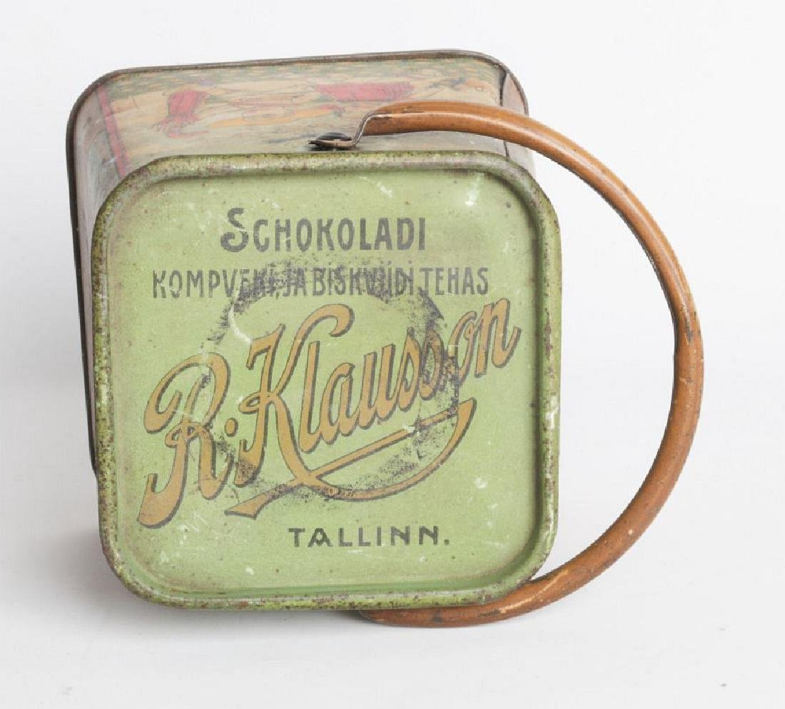 A R. KLAUSSON TIN LITHO HANDLED BISCUIT TIN - 8