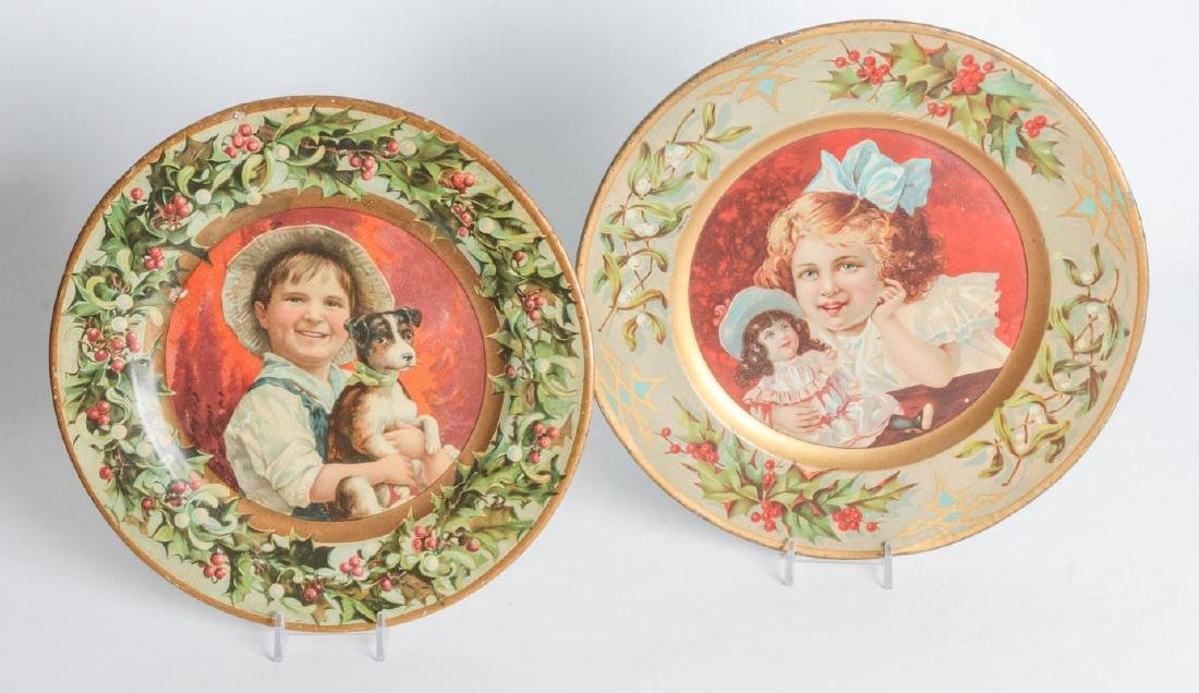 TWO TIN LITHO PLATES WITH CHILDREN'S PORTRAITS