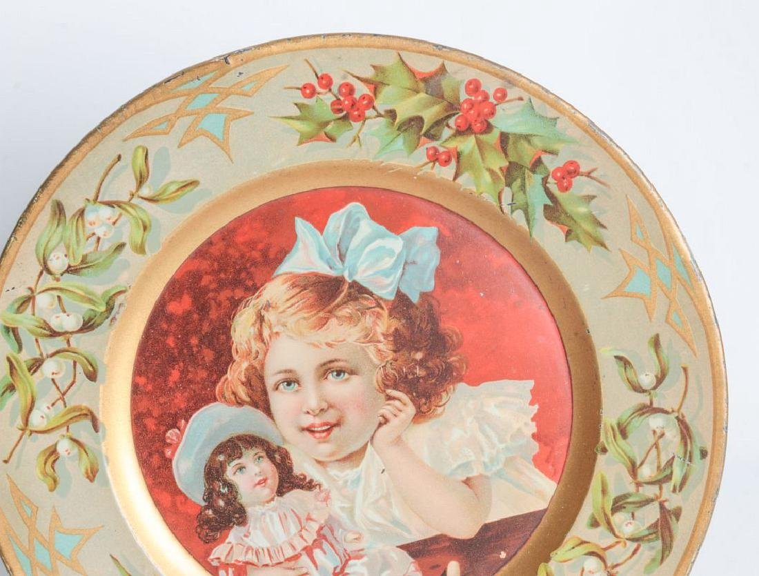 TWO TIN LITHO PLATES WITH CHILDREN'S PORTRAITS - 2