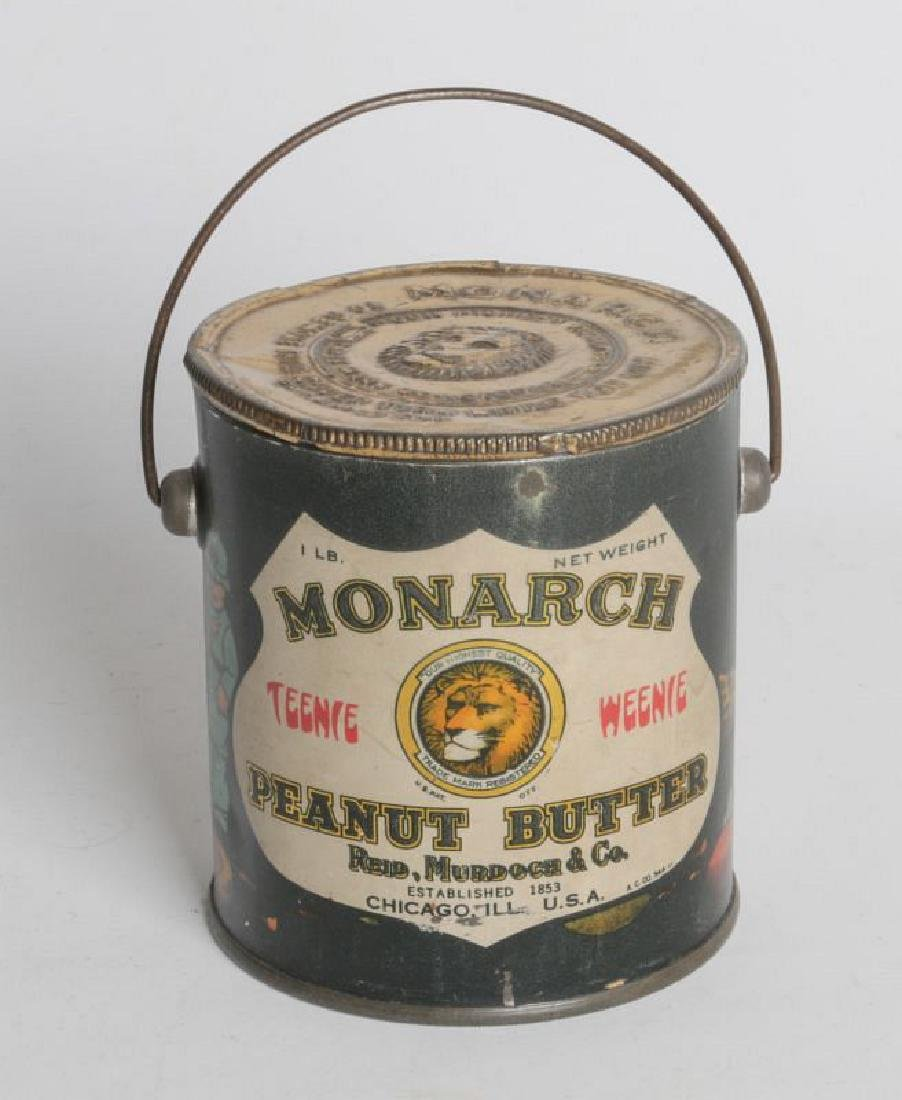 MONARCH PEANUT BUTTER TIN LITHO HANDLED TIN