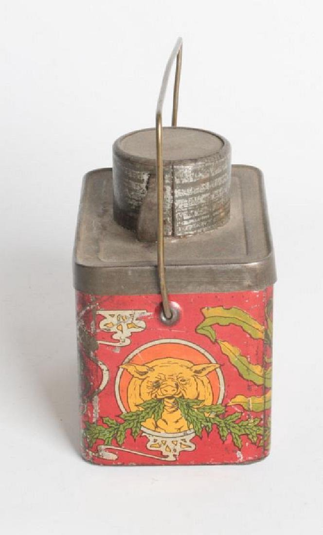 A TIN LITHO 'DINNER BUCKET' TYPE TIN WITH CUP - 5