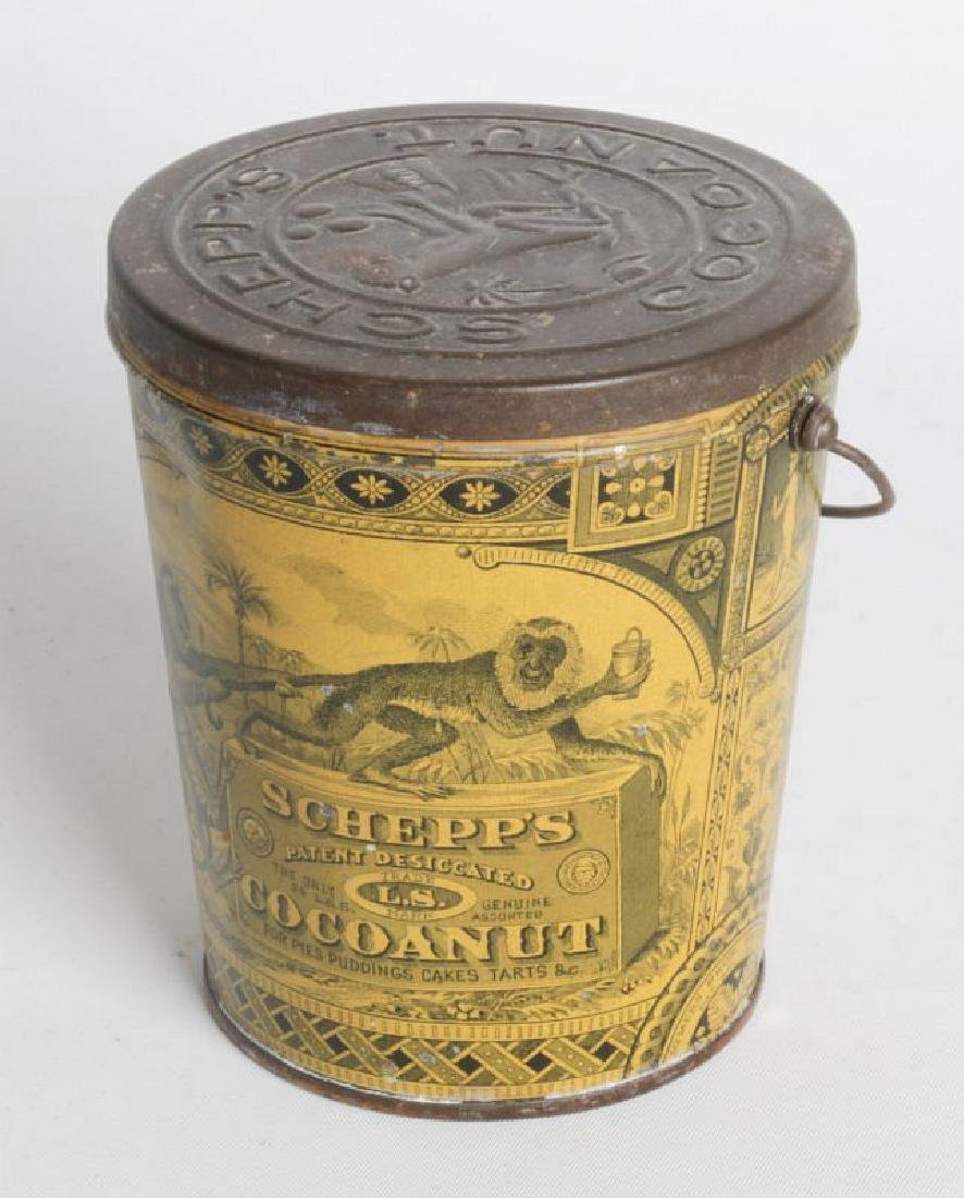 A SCHEPP'S TIN LITHO HANDLED COCOANUT TIN