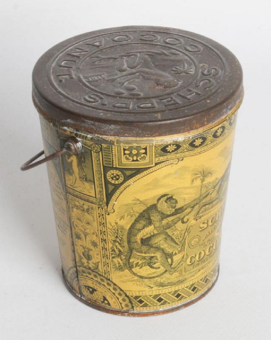 A SCHEPP'S TIN LITHO HANDLED COCOANUT TIN - 2