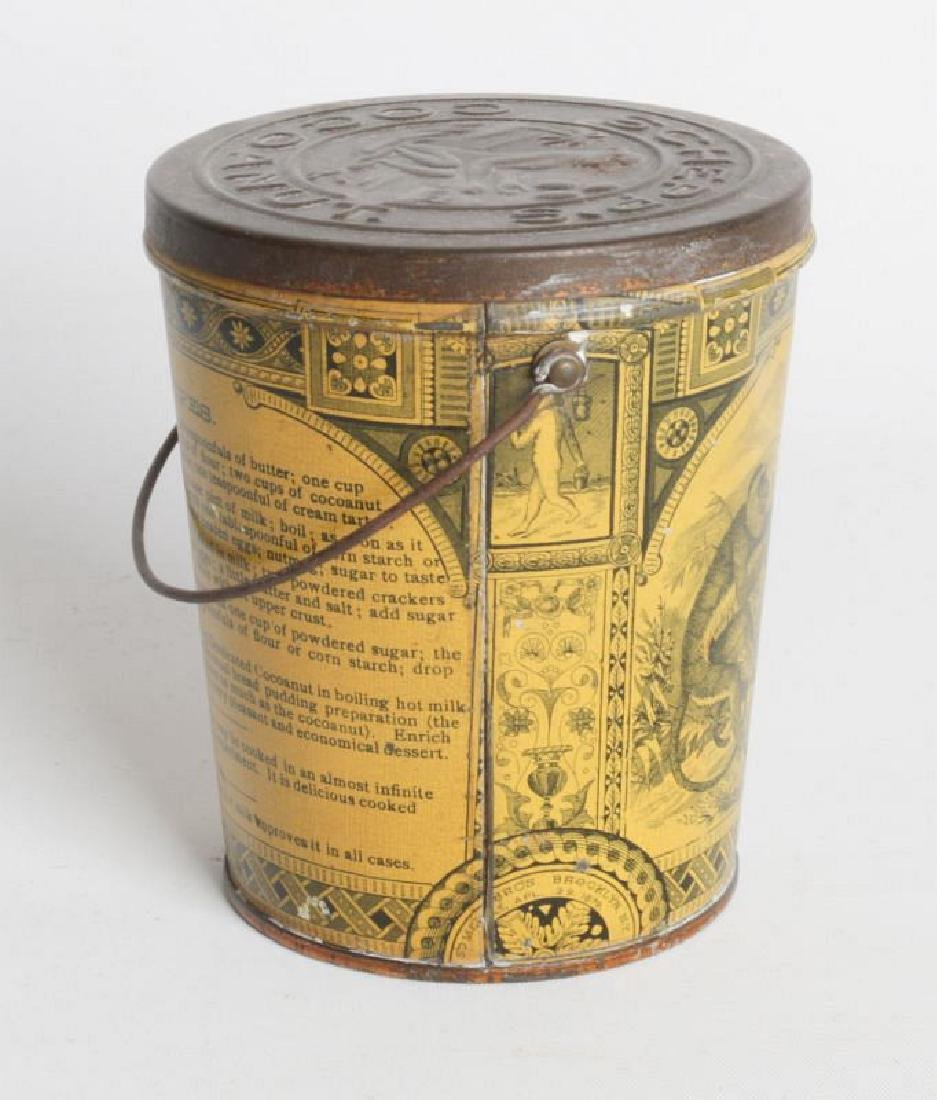 A SCHEPP'S TIN LITHO HANDLED COCOANUT TIN - 3