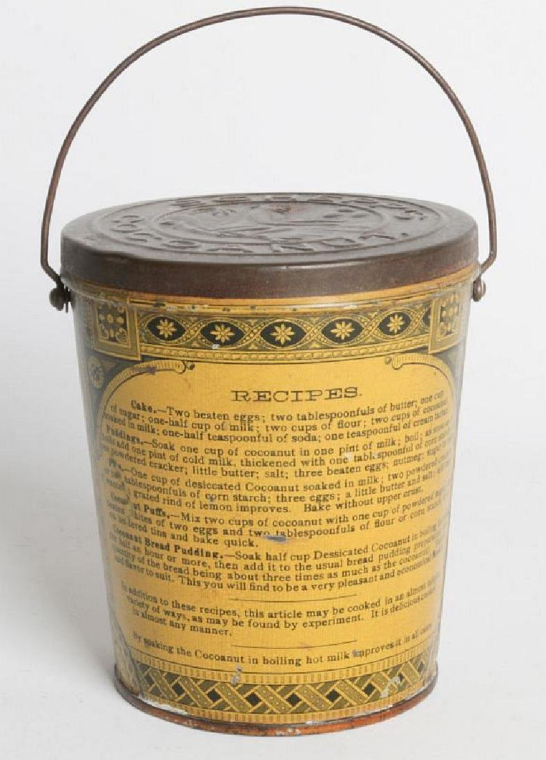 A SCHEPP'S TIN LITHO HANDLED COCOANUT TIN - 4