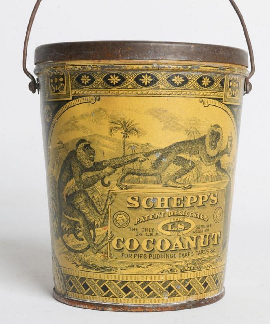 A SCHEPP'S TIN LITHO HANDLED COCOANUT TIN - 6