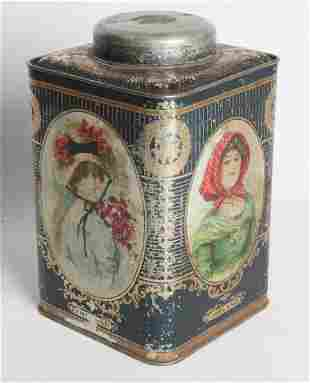A LITHOGRAPHED TIN TEA CANISTER W BRITISH LADIES