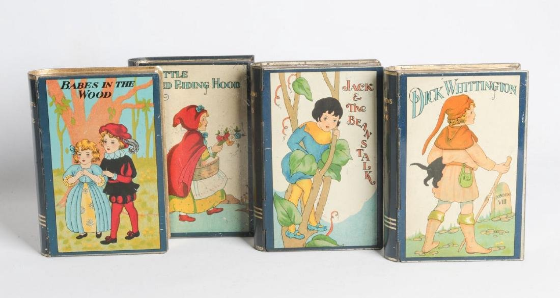 FOUR FAIRY TALE BOOK-FORM TIN LITHO MONEY BOXES